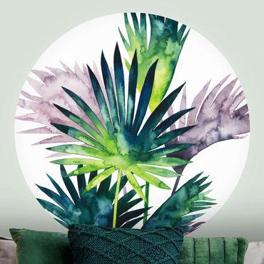 Runde Tapete selbstklebend - Exotisches Blattwerk - Fächerpalme