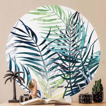 Runde Tapete selbstklebend - Exotisches Blattwerk - Palme