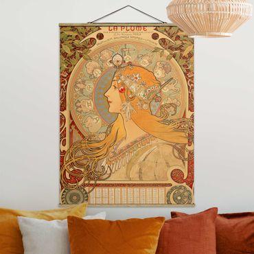 Stoffbild mit Posterleisten - Alfons Mucha - Sternkreiszeichen - Hochformat 4:3