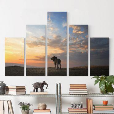 Leinwandbild 5-teilig - Löwe im Sonnenuntergang
