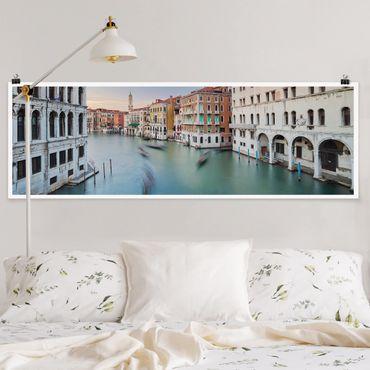 Poster - Canale Grande Blick von der Rialtobrücke Venedig - Panorama Querformat