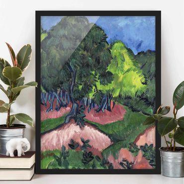 Bild mit Rahmen - Ernst Ludwig Kirchner - Landschaft mit Kastanienbaum - Hochformat 3:4