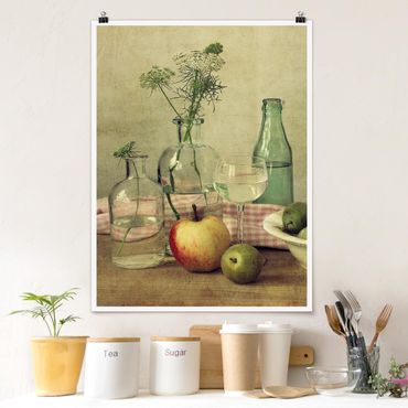 Poster - Stillleben mit Flaschen - Hochformat 3:4