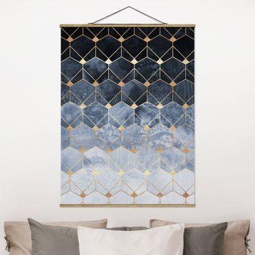 Stoffbild mit Posterleisten - Elisabeth Fredriksson - Blaue Geometrie goldenes Art Deco - Hochformat 4:3