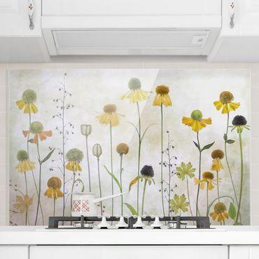 Spritzschutz Glas - Zarte Helenium Blüten - Querformat - 3:2