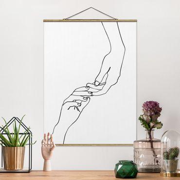 Stoffbild mit Posterleisten - Line Art Hände Berührung Schwarz Weiß - Hochformat 4:3