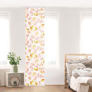 Schiebegardinen Set - Gelbe Blätter mit Aquarell Blumen vor Rosa - 6 Flächenvorhänge