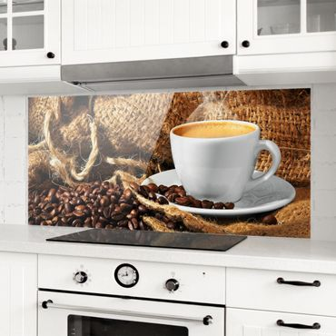 Spritzschutz Glas - Kaffee am Morgen - Panorama - 5:2