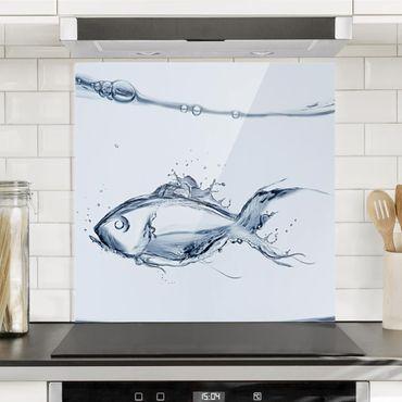 Glas Spritzschutz - Liquid Silver Fish - Quadrat - 1:1