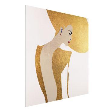 Forex Fine Art Print - Dame mit Hut in Gold - Quadrat 1:1