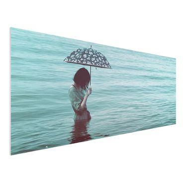 Forex Fine Art Print - Spaziergang im Wasser - Panorama