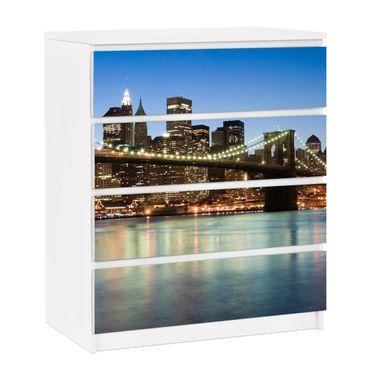 Möbelfolie für IKEA Malm Kommode - selbstklebende Folie Brooklyn Brücke in New York