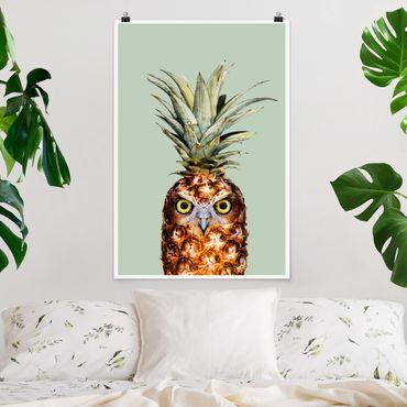 Poster - Jonas Loose - Ananas mit Eule - Hochformat 3:2