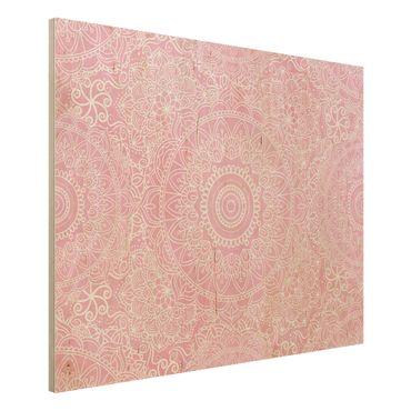 Holzbild - Muster Mandala Rosa - Querformat 3:4