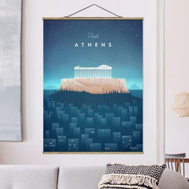 Stoffbild mit Posterleisten - Reiseposter - Athen - Hochformat 4:3