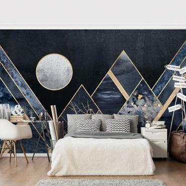 Fototapete - Goldener Mond abstrakte schwarze Berge - Fototapete Quadrat