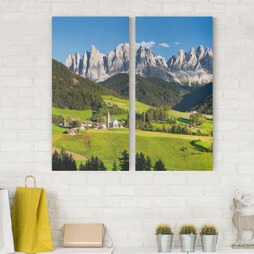 Leinwandbild 2-teilig - Geislerspitzen in Südtirol - Hoch 1:2