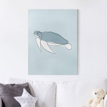 Leinwandbild - Schildkröte Line Art - Hochformat 4:3