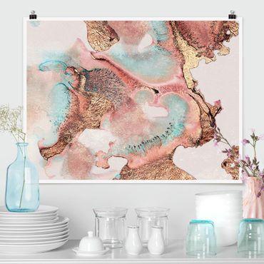Poster - Goldenes Aquarell Rosé - Querformat 3:4