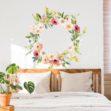 Wandtattoo - Aquarell Rosa Blüten Kranz XXL