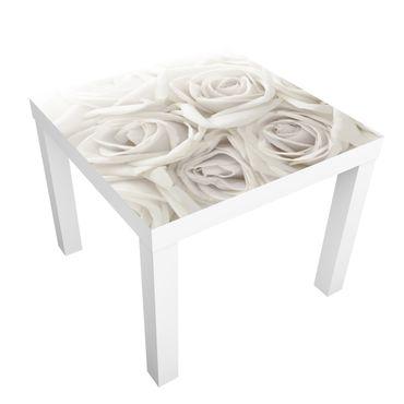 Möbelfolie für IKEA Lack - Klebefolie Weiße Rosen