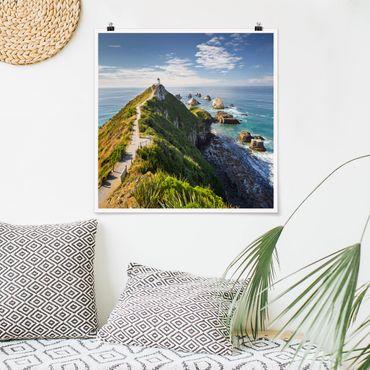 Poster - Nugget Point Leuchtturm und Meer Neuseeland - Quadrat 1:1