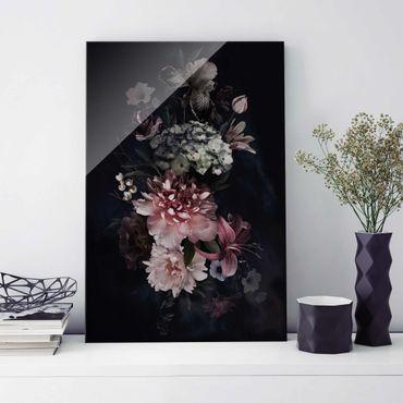 Glasbild - Blumen mit Nebel auf Schwarz - Hochformat 3:2