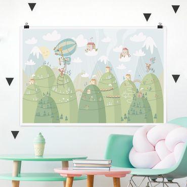 Poster - Wald mit Häusern und Tieren - Querformat 2:3