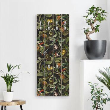 Wandgarderobe Holz - Vögel mit Ananas Grün - Haken chrom Hochformat