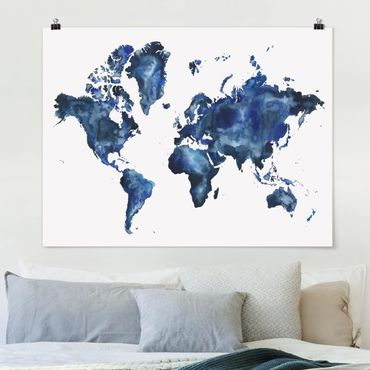 Poster - Wasser-Weltkarte hell - Querformat 3:4