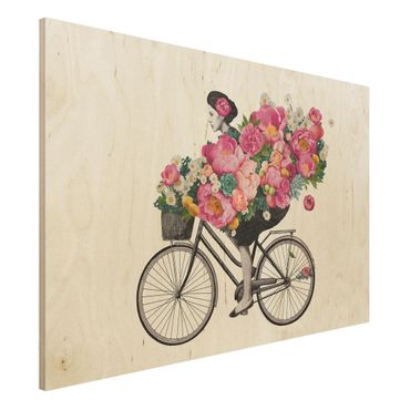Holzbild - Illustration Frau auf Fahrrad Collage bunte Blumen - Querformat 2:3