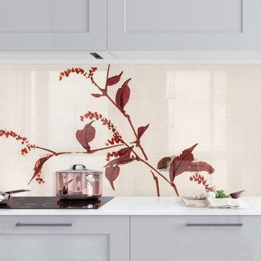 Küchenrückwand - Asiatische Vintage Zeichnung Roter Zweig mit Libelle