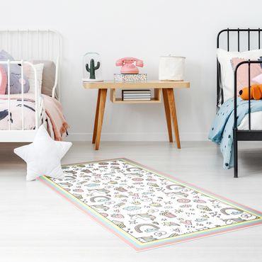 Vinyl-Teppich - Einhörner und Süßes in Pastell mit Rahmen - Hochformat 1:2