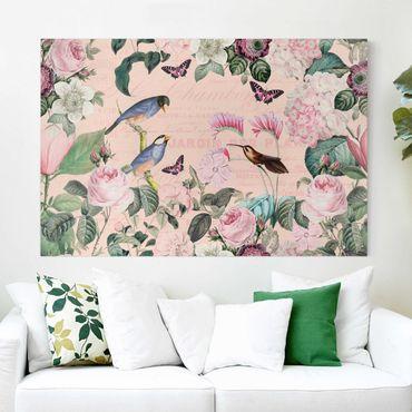 Leinwandbild - Vintage Collage - Rosen und Vögel - Querformat 2:3