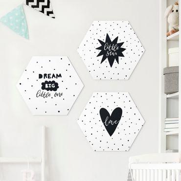 Hexagon Bild Forex 3-teilig - Little Star Set Weiß