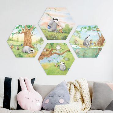 Hexagon Bild Forex 4-teilig - Wassili und Sibelius - Abenteuer