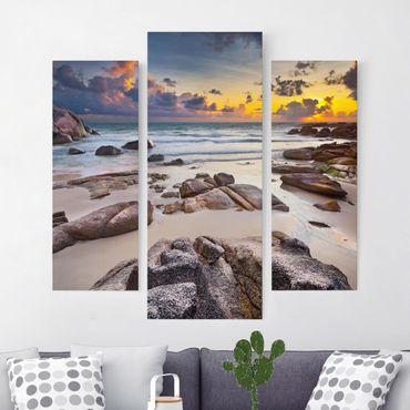 Leinwandbild 3-teilig - Strand Sonnenaufgang in Thailand - Galerie Triptychon
