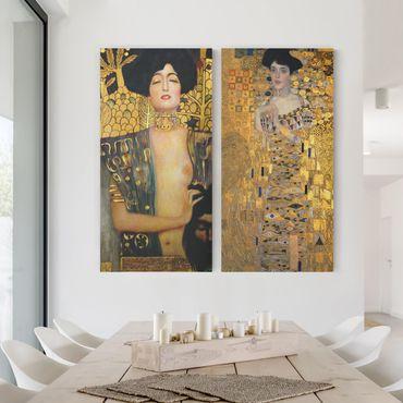 Leinwandbild 2-teilig - Gustav Klimt - Judith und Adele - Hoch 1:2