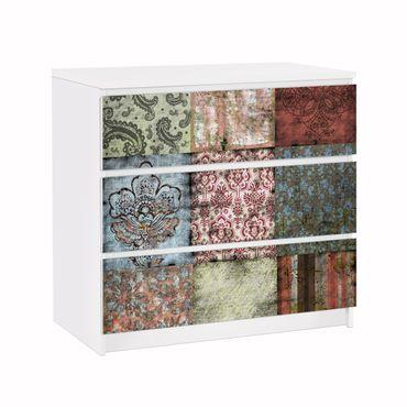 Möbelfolie für IKEA Malm Kommode - Klebefolie Old Patterns