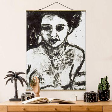 Stoffbild mit Posterleisten - Ernst Ludwig Kirchner - Artistenkind - Hochformat 3:4