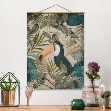 Stoffbild mit Posterleisten - Vintage Collage - Tukan im Dschungel - Hochformat 4:3