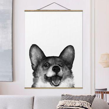 Stoffbild mit Posterleisten - Laura Graves - Illustration Hund Corgi Weiß Schwarz Malerei - Hochformat 4:3