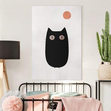 Leinwandbild - Schwarze Katze Illustration - Hochformat 3:2