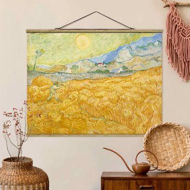 Stoffbild mit Posterleisten - Vincent van Gogh - Kornfeld mit Schnitter - Querformat 4:3