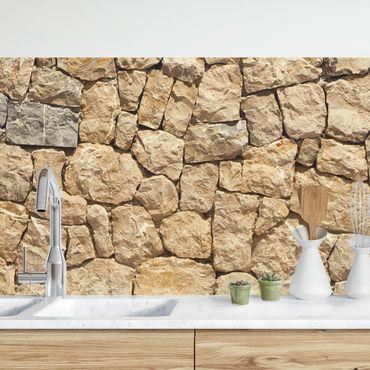 Küchenrückwand - Alte Wand aus Pflasterstein