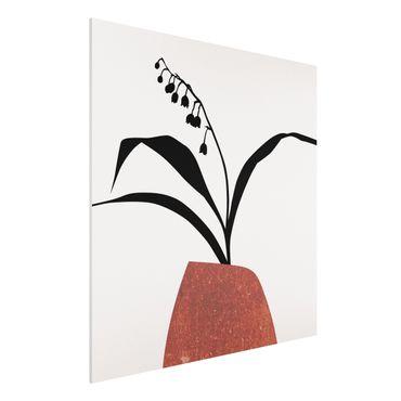 Forex Fine Art Print - Grafische Pflanzenwelt - Maiglöckchen - Quadrat 1:1