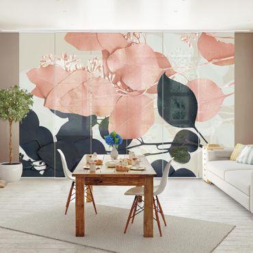 Schiebegardinen Set - Blätter Indigo & Rouge I - Flächenvorhang