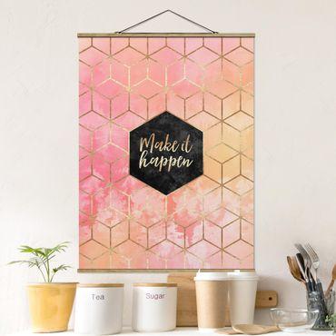 Stoffbild mit Posterleisten - Elisabeth Fredriksson - Make It Happen Geometrie Pastell - Hochformat 4:3