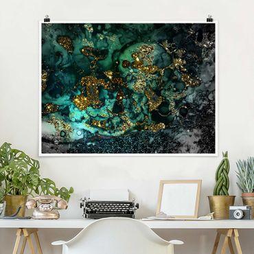 Poster - Goldene Meeres-Inseln Abstrakt - Querformat 3:4