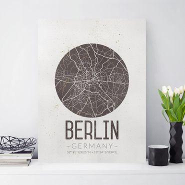 Leinwandbild - Stadtplan Berlin - Retro - Hochformat 4:3